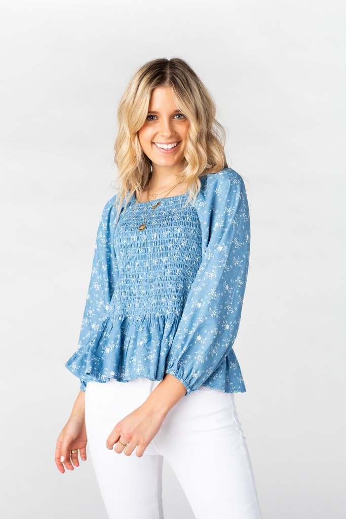 Ivy Smocked Top WOMEN'S TOP Polagram Blue Floral L