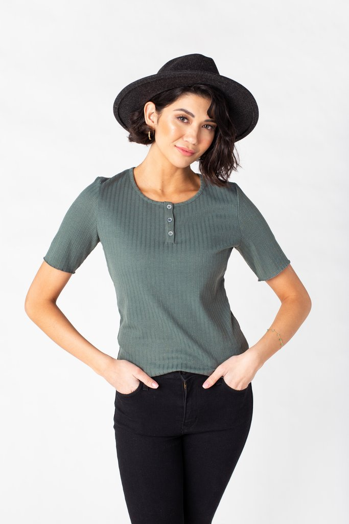Parker Ribbed Top WOMEN'S TOP Tea N Rose Sea Green L