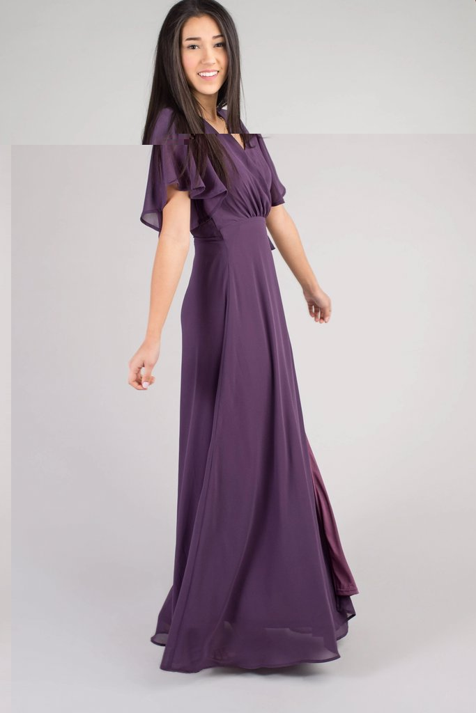 Naples Flutter Sleeve Wrap Maxi WOMEN'S DRESS Susanhayrethelwell L *FINAL SALE* Plum