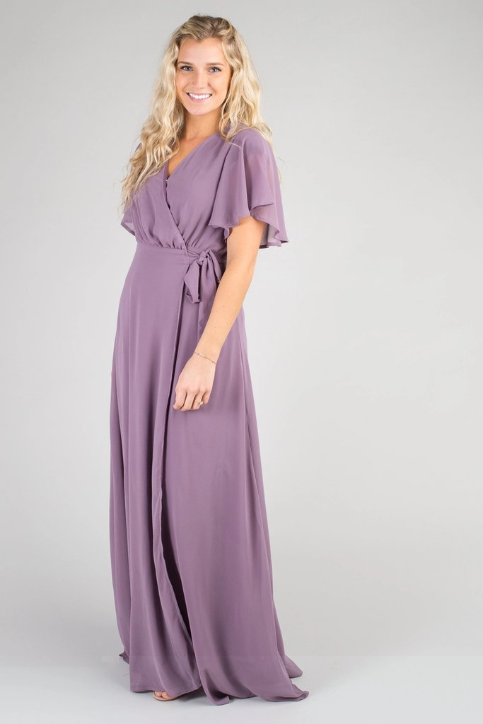 Naples Flutter Sleeve Wrap Maxi WOMEN'S DRESS Susanhayrethelwell L *FINAL SALE* Mauve