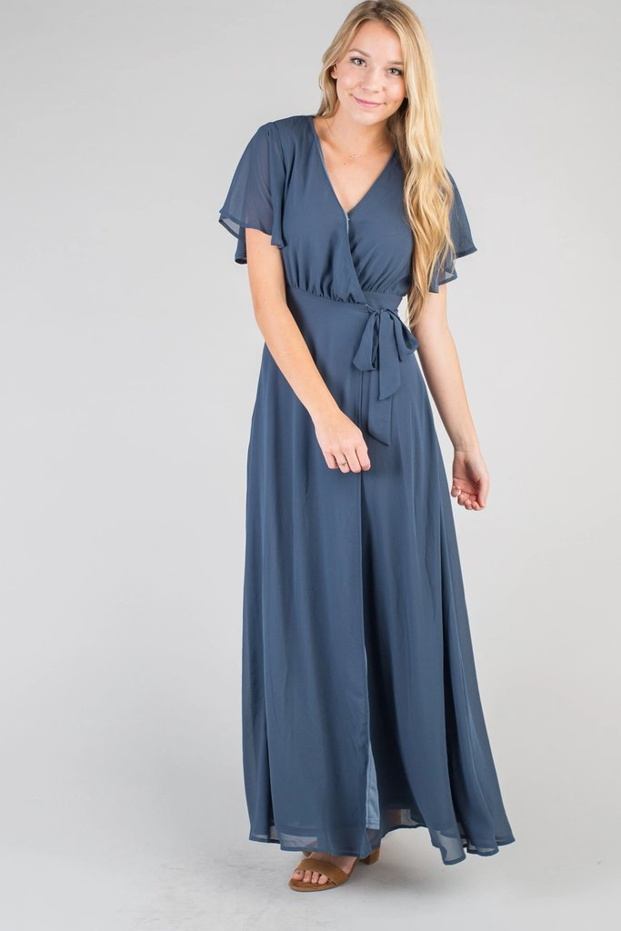 Naples Flutter Sleeve Wrap Maxi WOMEN'S DRESS Susanhayrethelwell