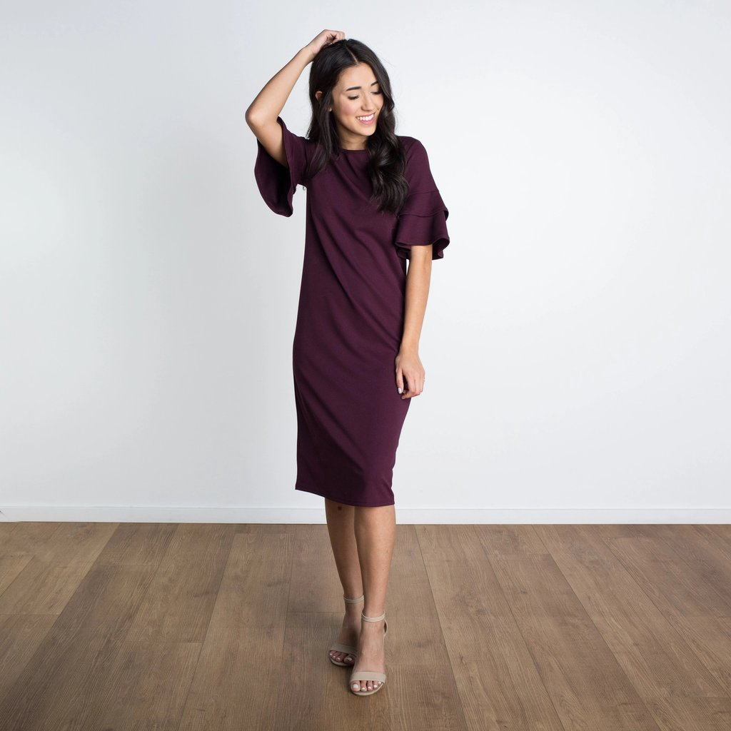 Lydia Double Bell Sleeve Dress WOMEN'S DRESS Susanhayrethelwell Wine L