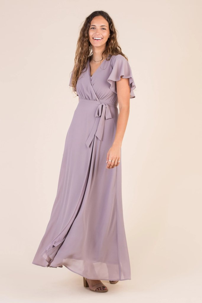 Naples Flutter Sleeve Wrap Maxi WOMEN'S DRESS Susanhayrethelwell L *FINAL SALE* Light Purple