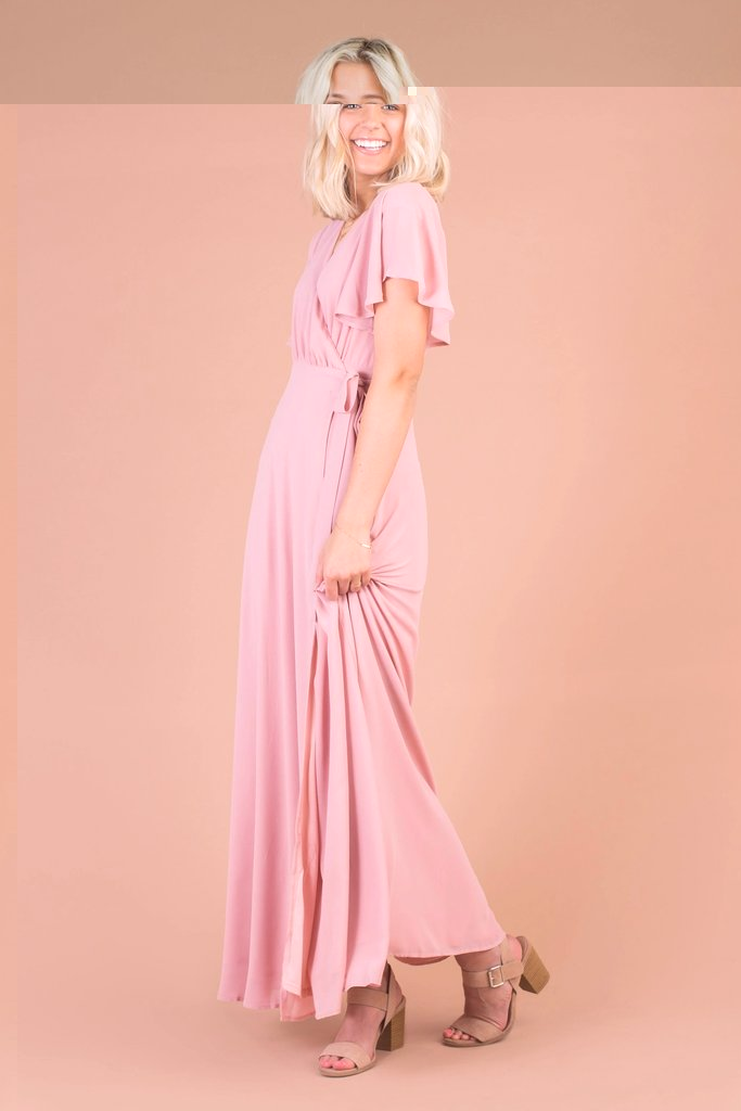 Naples Flutter Sleeve Wrap Maxi WOMEN'S DRESS Susanhayrethelwell L *FINAL SALE* Pink