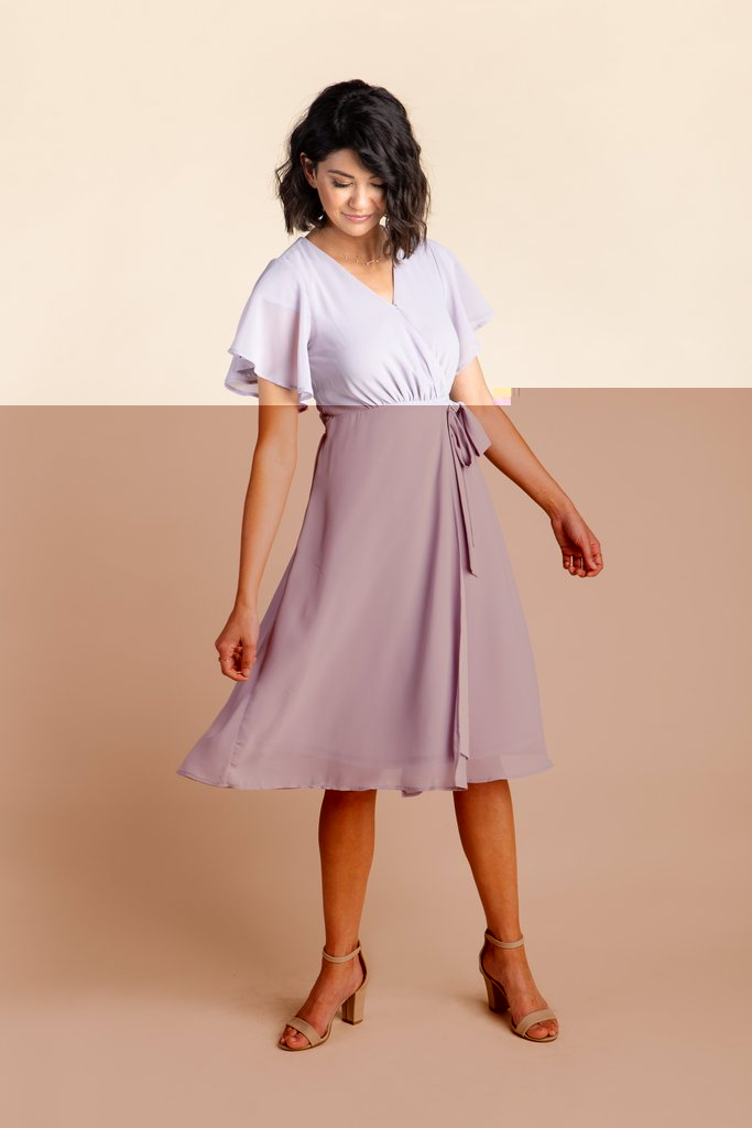 Vienna Flutter Sleeve Wrap Dress - S&B WOMEN'S DRESS Susanhayrethelwell L Lilac