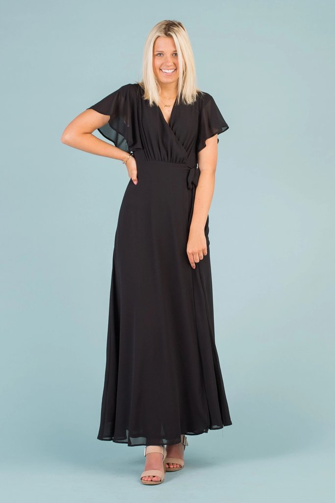 Naples Flutter Sleeve Wrap Maxi WOMEN'S DRESS Susanhayrethelwell L *FINAL SALE* Black