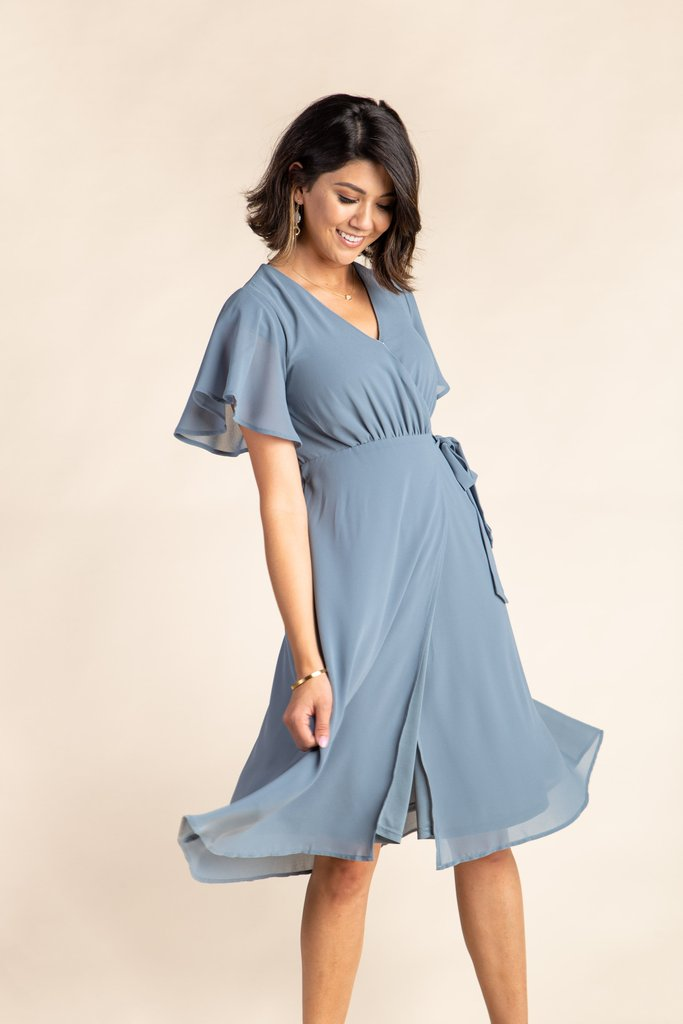 Vienna Flutter Sleeve Wrap Dress - S&B WOMEN'S DRESS Susanhayrethelwell L Dusty Blue