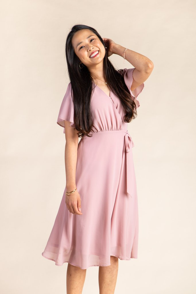 Vienna Flutter Sleeve Wrap Dress - S&B WOMEN'S DRESS Susanhayrethelwell L Dusty Pink