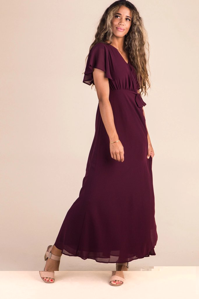 Naples Flutter Sleeve Wrap Maxi WOMEN'S DRESS Susanhayrethelwell XXXL Burgundy