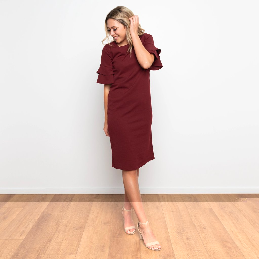 Lydia Double Bell Sleeve Dress WOMEN'S DRESS Susanhayrethelwell Wine S