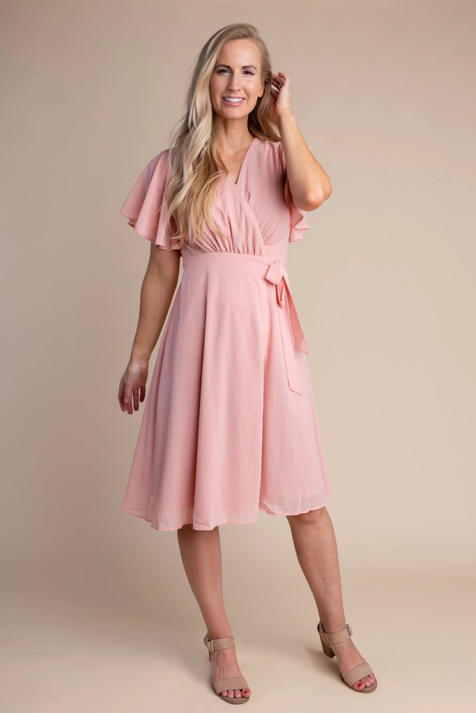 Vienna Flutter Sleeve Wrap Dress - S&B WOMEN'S DRESS Susanhayrethelwell L Pink